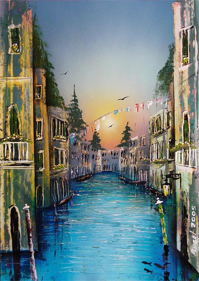 Impressionistic Painting - Rio Madalena  Venice by Angel Ortiz