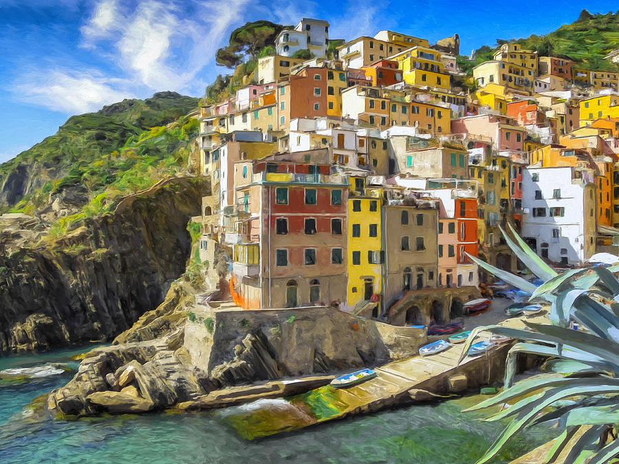 Liguria Painting - Riomaggiore - Cinque Terre by Dominic Piperata