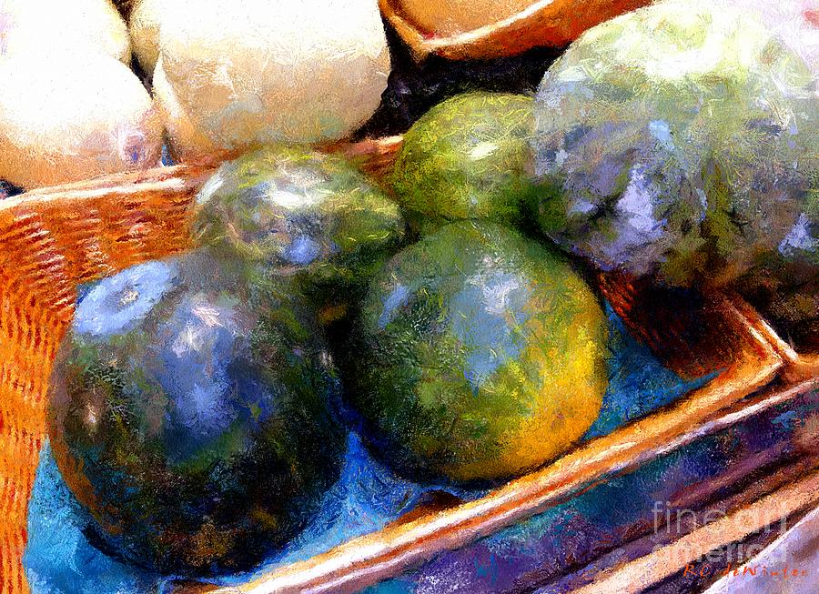 Basket Painting - Ripe And Luscious Melons by RC DeWinter