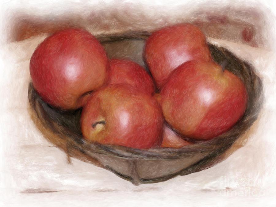 Apples Digital Art - Ripe Red Apples by Susan  Lipschutz