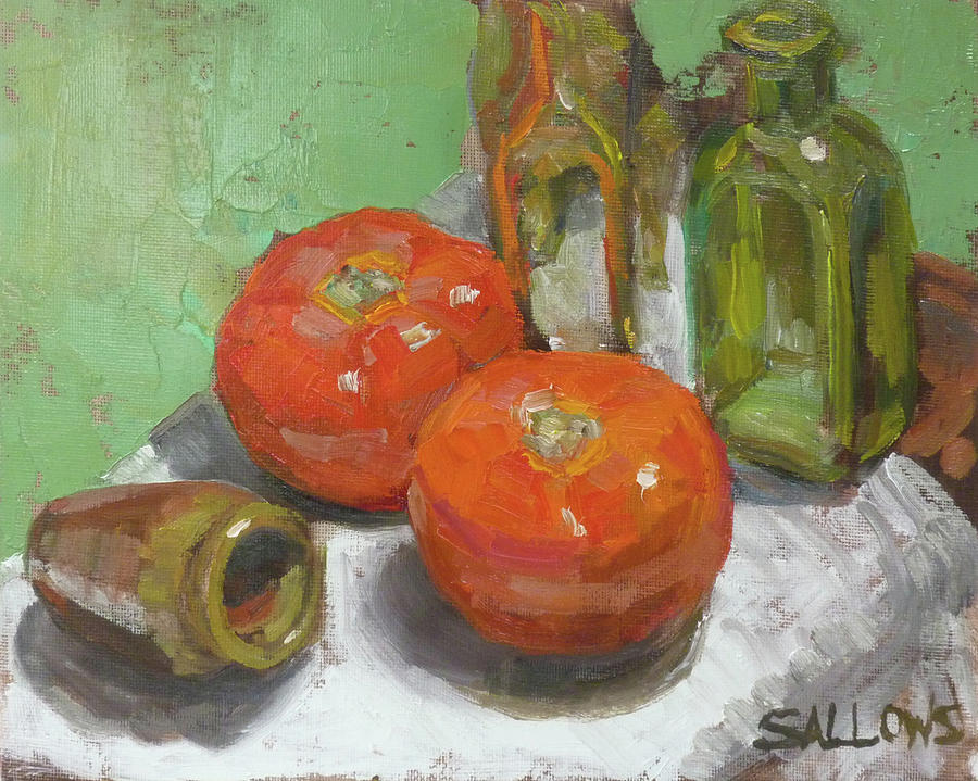 Tomato Painting - Ripe Tomatoes by Nora Sallows