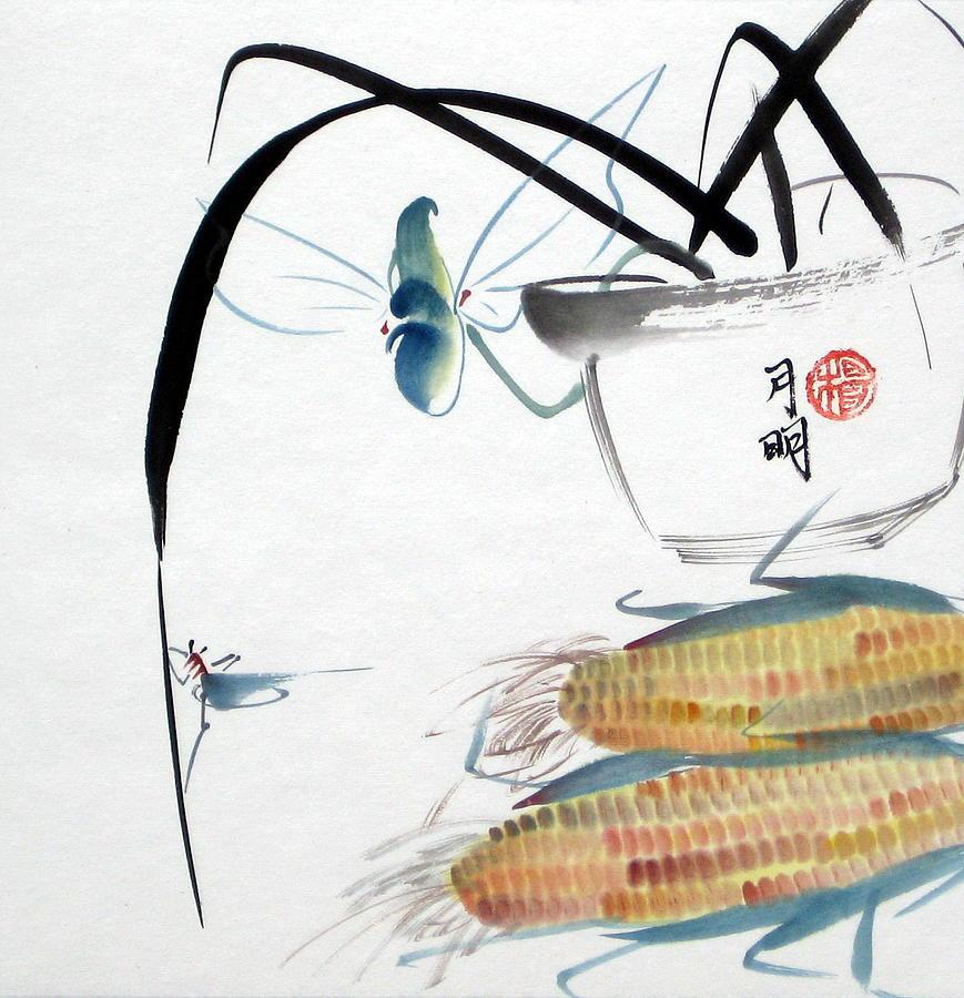 Corn Painting - Ripen Corns by Ming Yeung