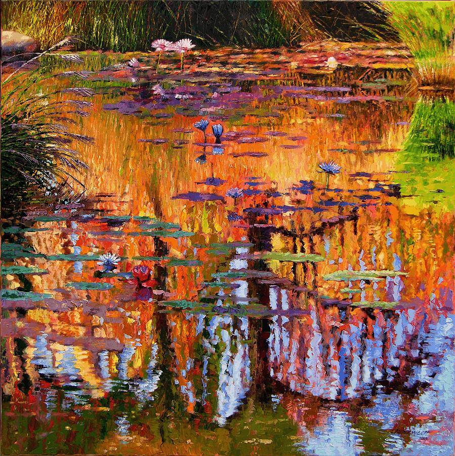 Flower Garden Painting - Ripples On Fall Pond by John Lautermilch