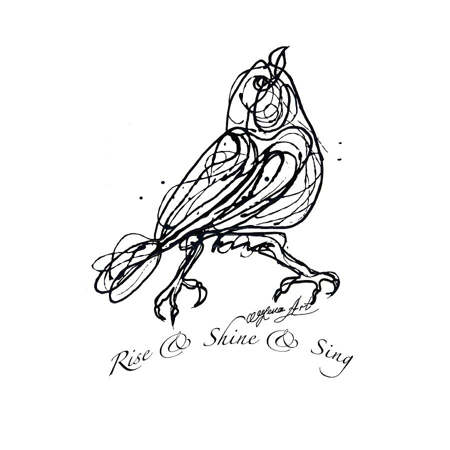 Rise  Shine Sing  -  Jackson Pollock Style  Drawing By Olena Art Drawing