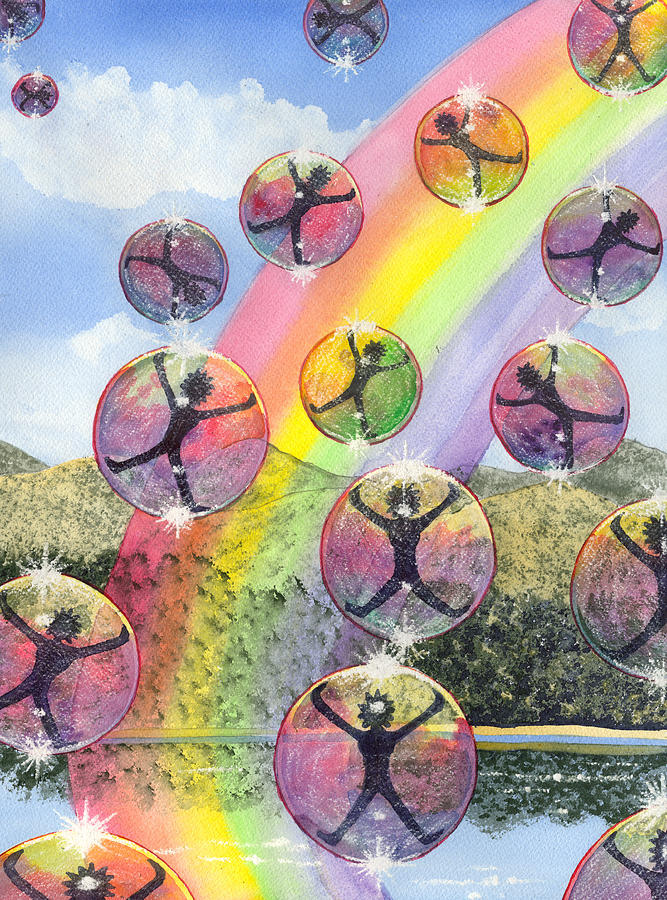 Bubbles Painting - Rising above it all by Catherine G McElroy
