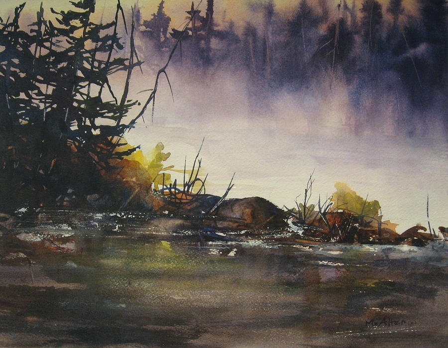 Lake Painting - Rising Mist by Madelaine Alter
