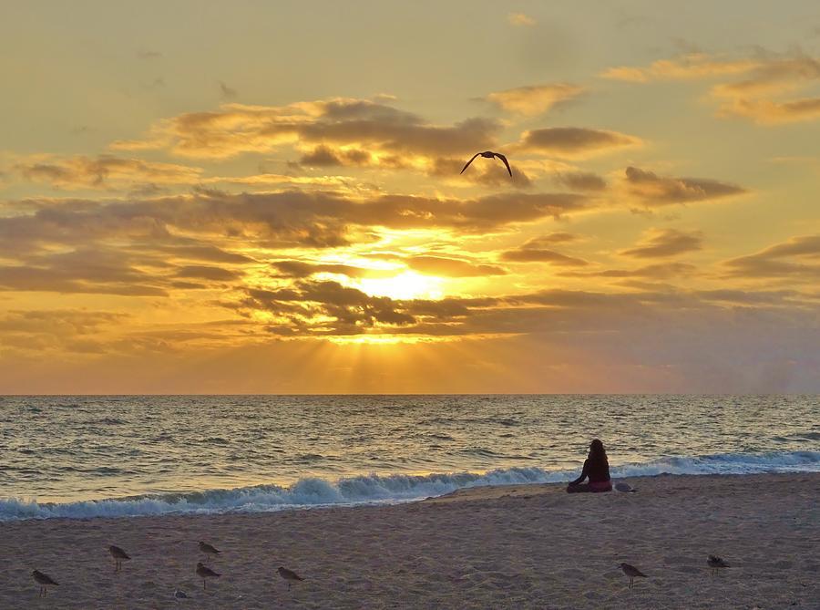 Beach Photograph - Rising Sun Land by Red Cross