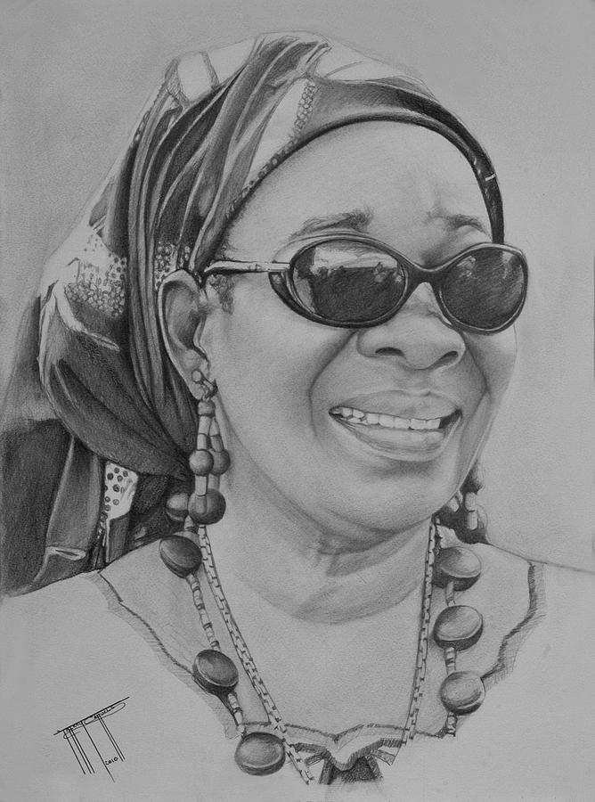 Rita Marley Drawing By Jeffrey Samuels