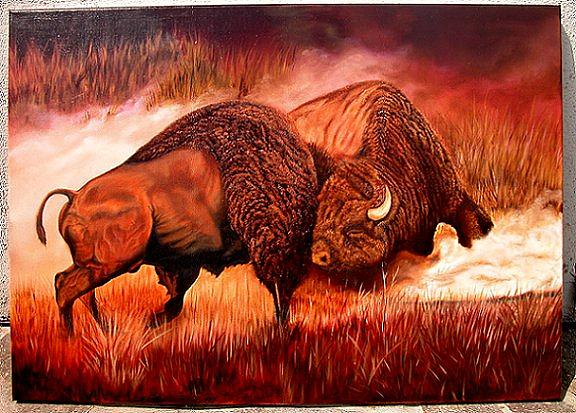 Bison Painting - Rites Of Passage by Mike Daffron