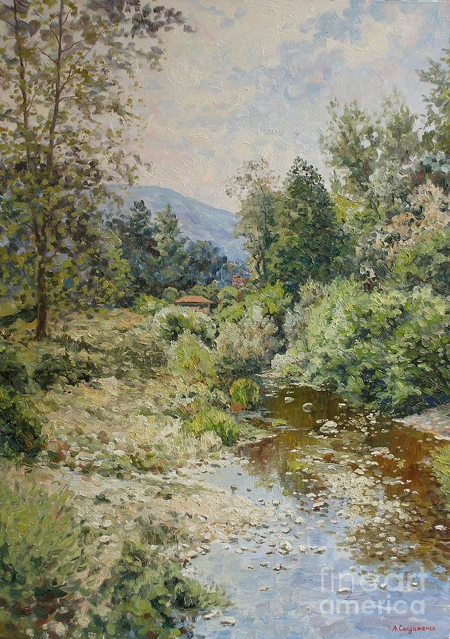 Landscape Painting - River At Bulgarian Foothills by Andrey Soldatenko