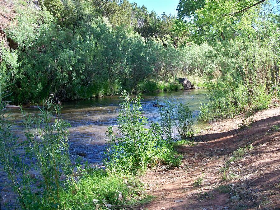 Landscape Photograph - River Bank - Jemez  by Debra King