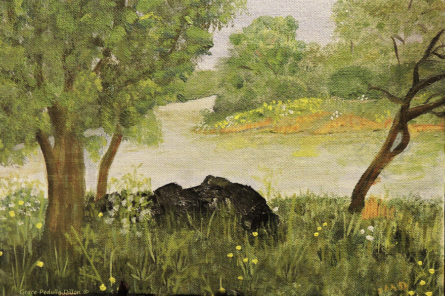 Creek Painting - River Bend in Spring by Grace Dillon