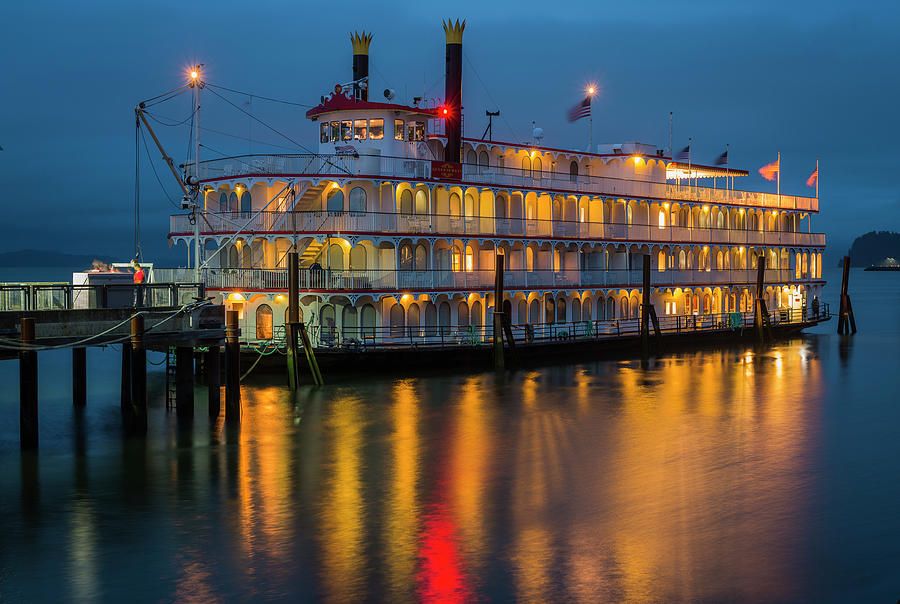 Astoria Photograph - River Boat At Dusk by Robert Potts