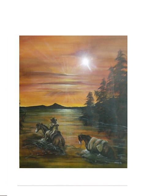 Cowboy Painting - River Crossing by John Hoot Gibson