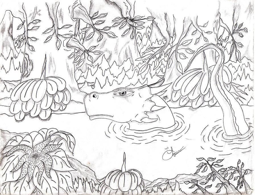 River Dragon Drawing by Lynnette Jones