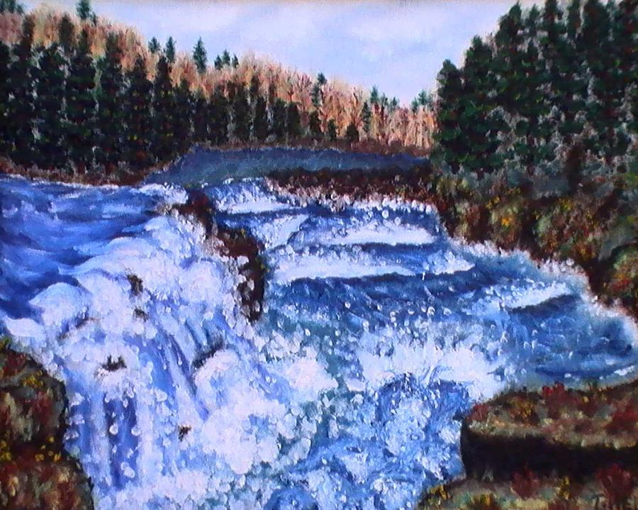 Pine Trees Painting - River Falls by Tanna Lee M Wells
