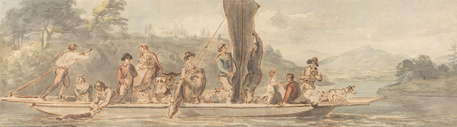 Paul Sandby Painting - River Ferry With Many Passengers And Animals by Paul Sandby