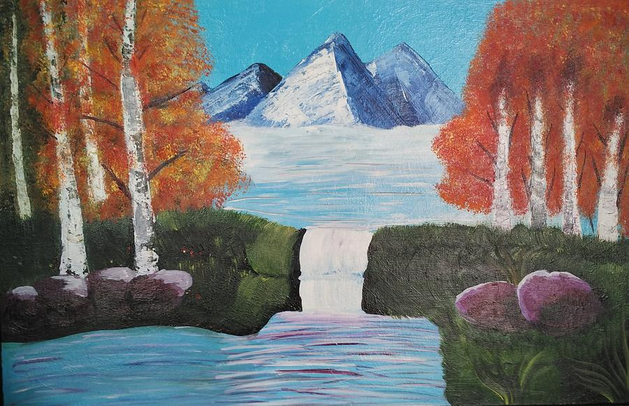 River Painting - River Flowing Through Mountains by Rekha Gajera