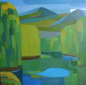 River. Forest. Grand Forks. Painting by Evgeny  Novoselov