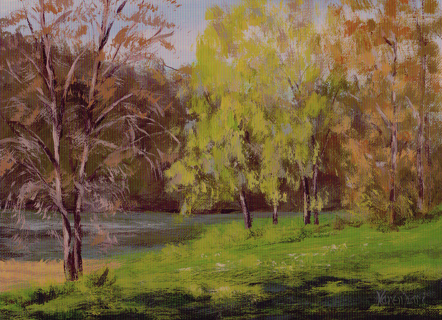 River Painting - River Forks Spring 2 by Karen Ilari