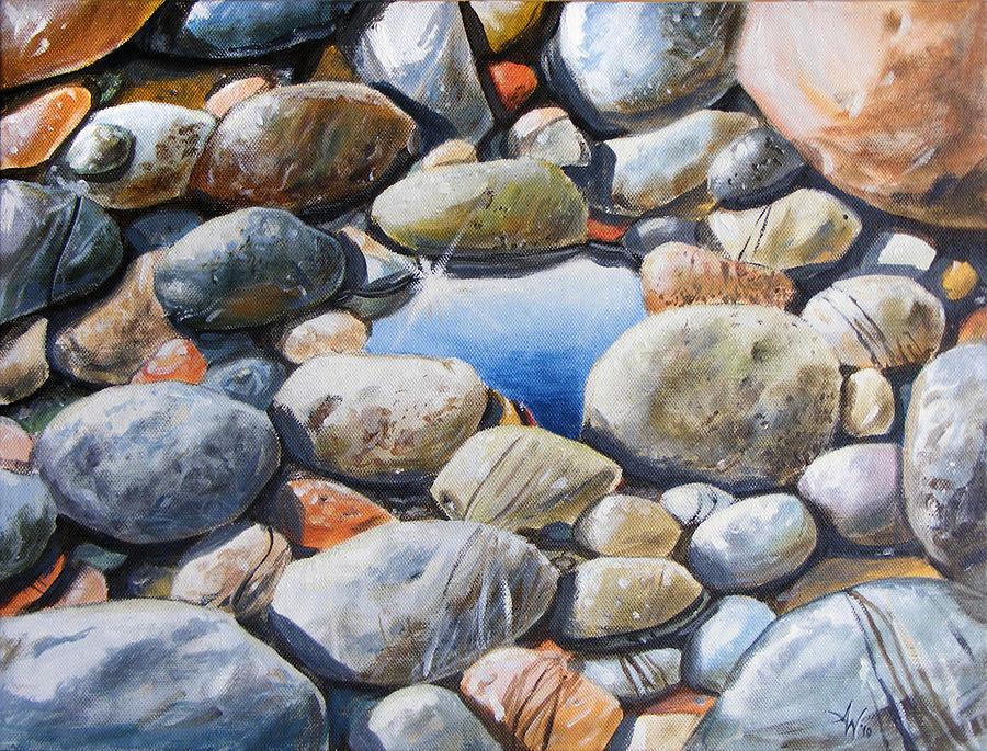 Blue Painting - River Gems by Arie Van der Wijst