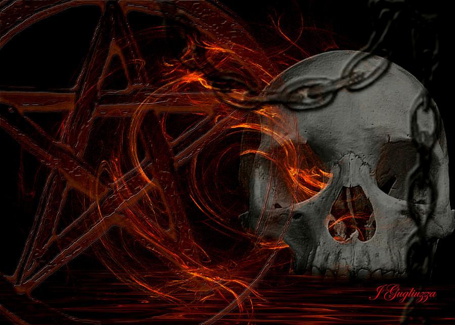 Devil Digital Art - River Hell by Jean Gugliuzza
