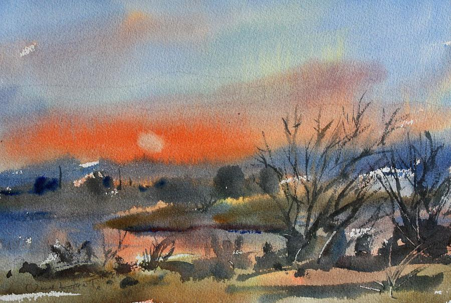 Watercolor Painting - River In March by Owen Hunt