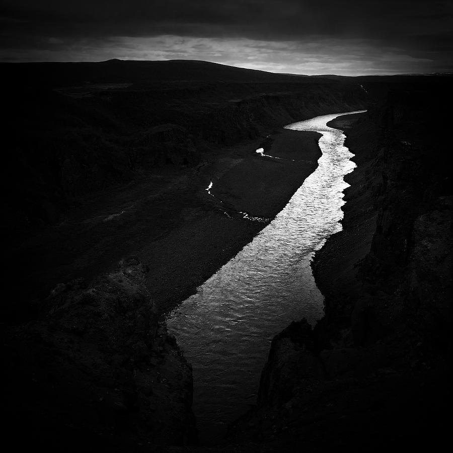 River Photograph - River in the dark in Iceland by Matthias Hauser