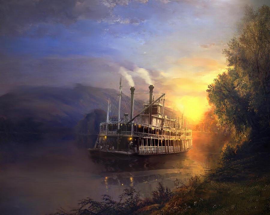 Riverboat Mixed Media - River King by Joel Payne