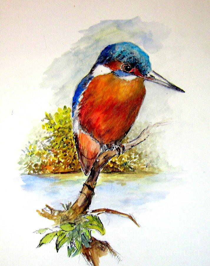 Fish Painting - River Kingfisher by Jason Sentuf