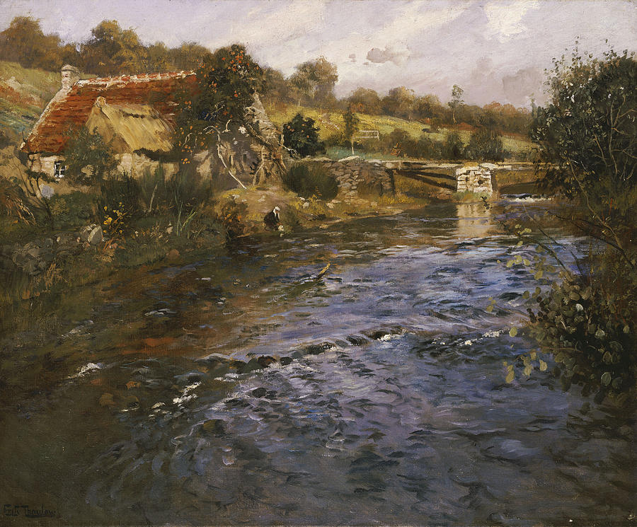 La Passerelle Painting - River Landscape With A Washerwoman  by Fritz Thaulow