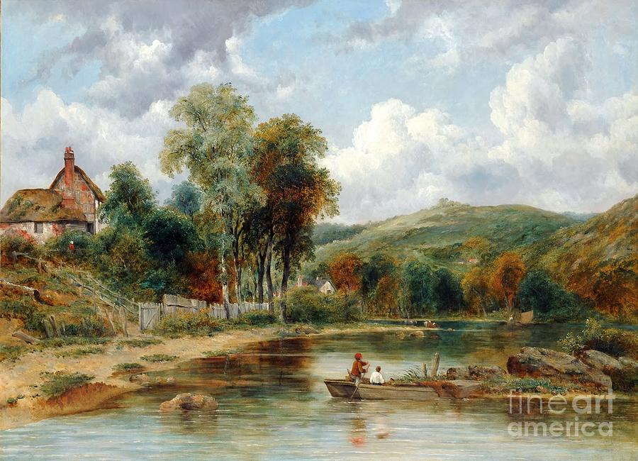 River Painting - River Landscape With Two Boys by MotionAge Designs