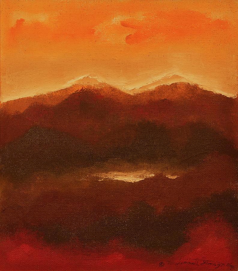 Mountain Terrain Painting - River Mountain View by Edward Longo