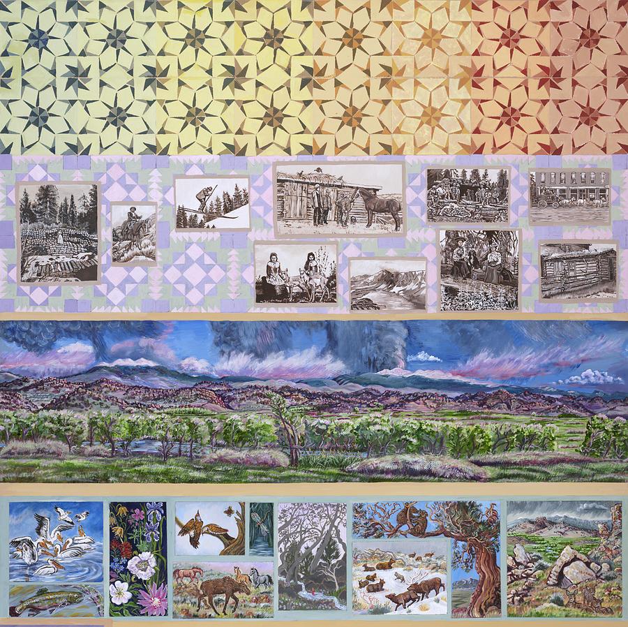 Western Painting - River Mural Summer Panel Top Half by Dawn Senior-Trask