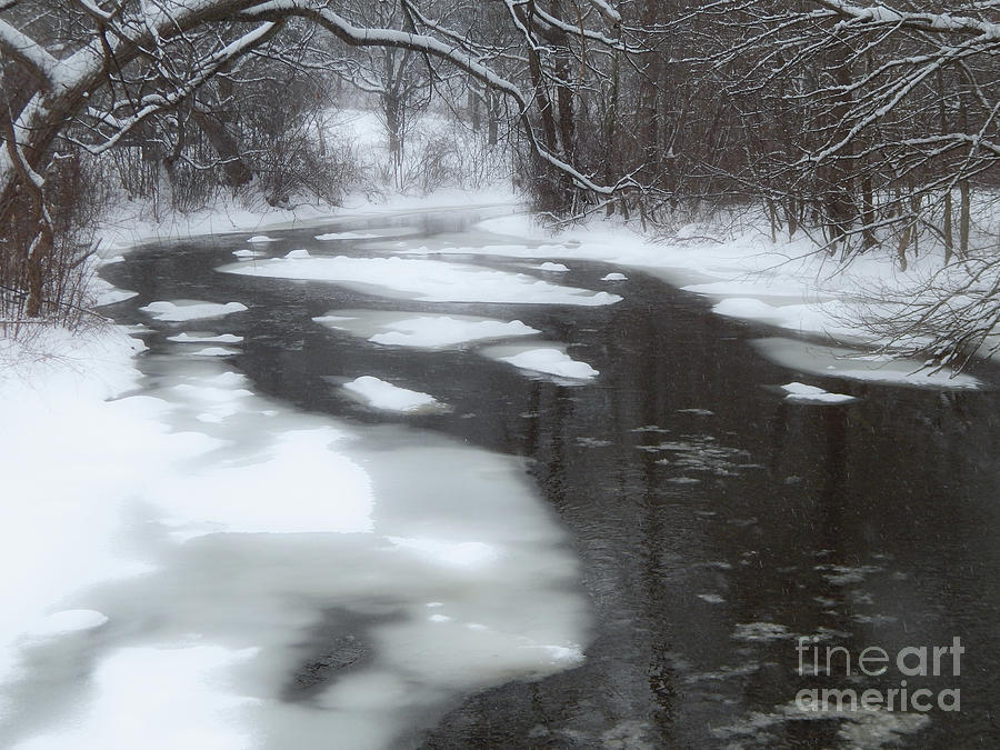 Huron River Photograph - River of Melting Ice by Phil Perkins