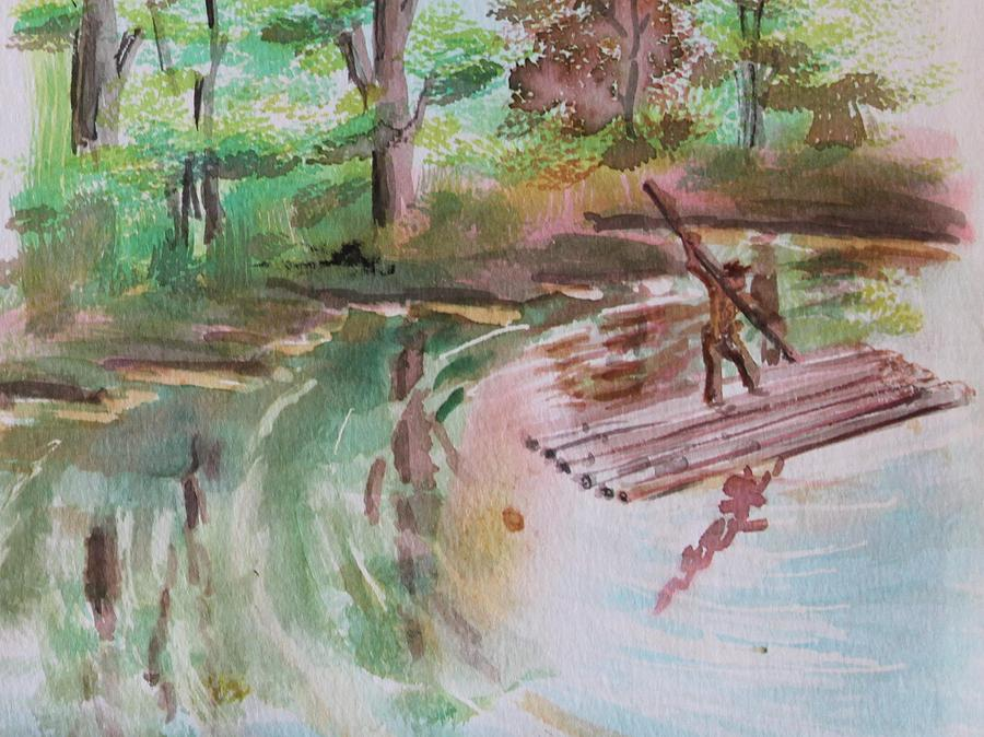 River Painting - River Rafting by Remegio Onia