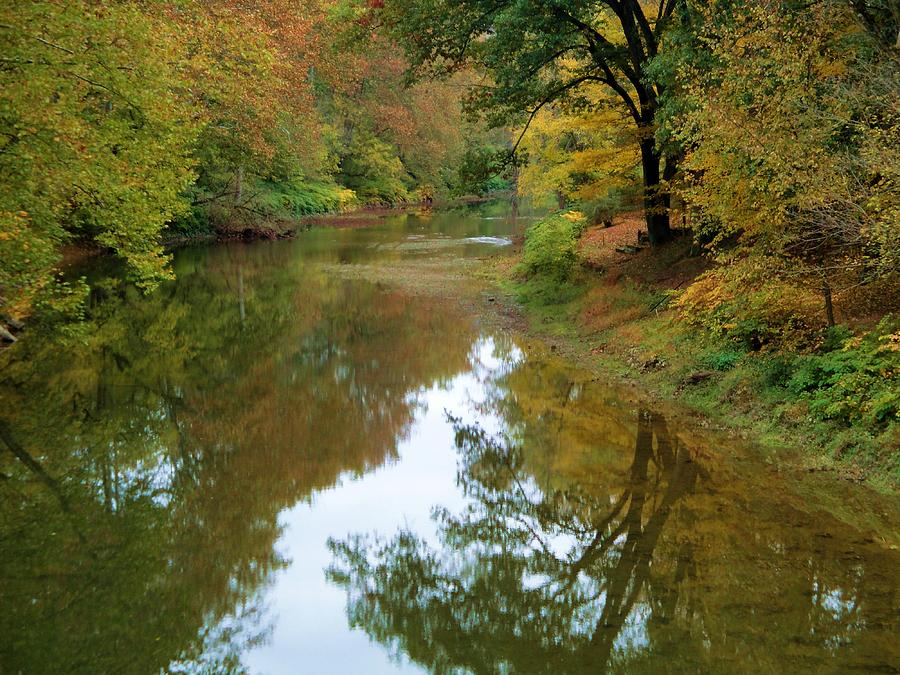 Autumn Photograph - River Reflection Autumn Sunday by Terry  Wiley