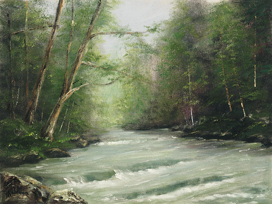 Landscape Painting - River Retreat by Cathy Robertson