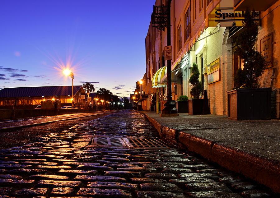Savannah Photograph - River Street At Dusk by Steven Liveoak