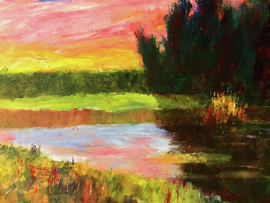 Dramatic Painting - River Sunset by James Murphy