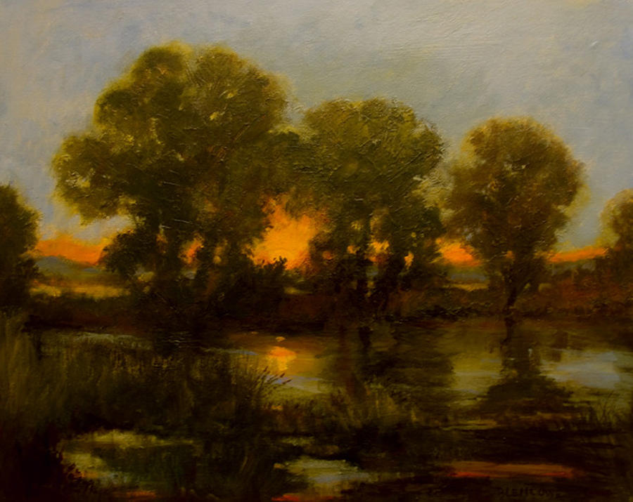 Sunset Painting - River Sunset by Jan Blencowe