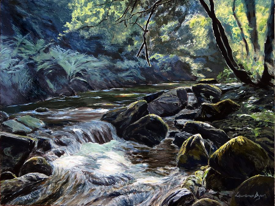 River Painting - River Taw Sticklepath by Lawrence Dyer