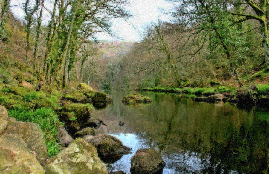 Landscape Painting - River Teign - P4a16010 by Dean Wittle