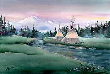 Tipi Digital Art - River Tipi Camp by Sharon Sharpe
