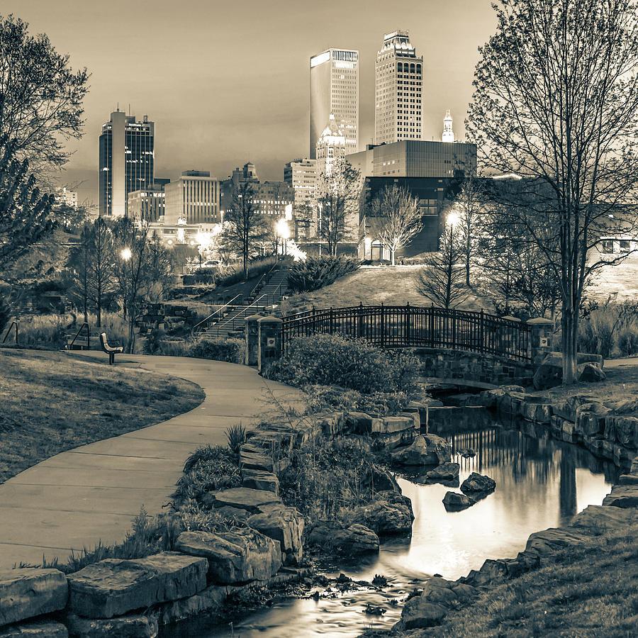 River To The Tulsa Oklahoma Skyline Sepia 1x1 Photograph