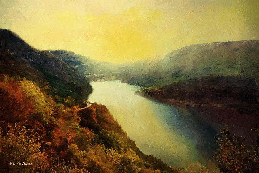 Landscape Painting - River Valley Sunrise by RC deWinter