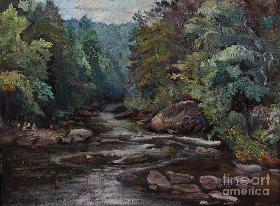 Oil Painting Painting - River Valley Visit by Maris Salmins