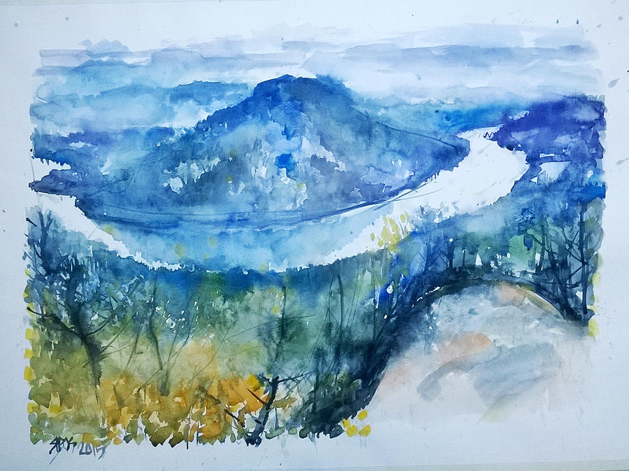 River Painting - River View Landscape by Lorand Sipos