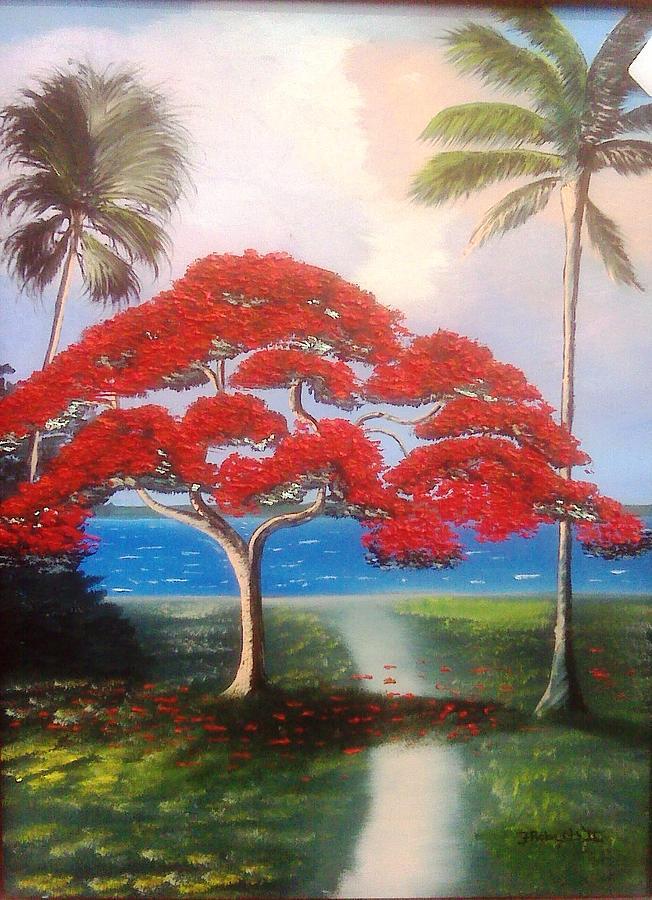 Royal Ponciana Painting - River Walk by Francis Roberts ll