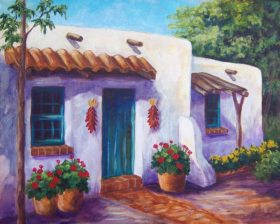 Landscape Painting - Riverbend Adobe by Candy Mayer